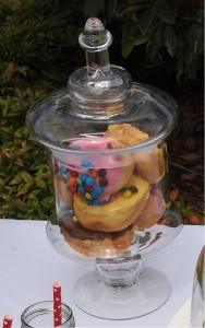 Glass Lolly Jar with Donuts